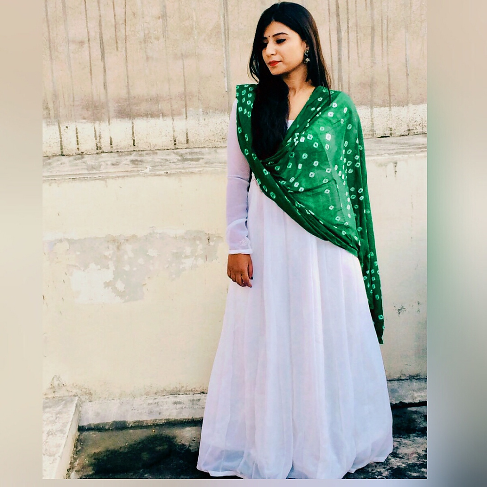 d610e4ff6f Womens white plain long sleeve anarkali suit from Other – coutloot.com