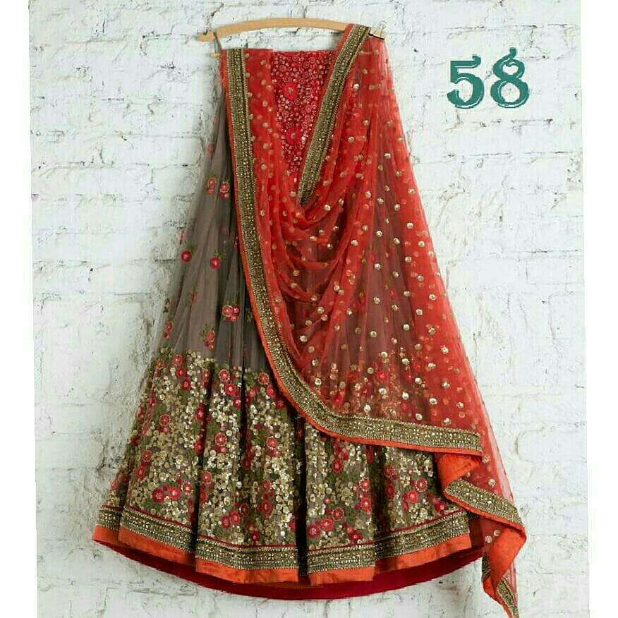 fe09e48a70 Red and beige floral lehenga skirt from Pantaloons – coutloot.com