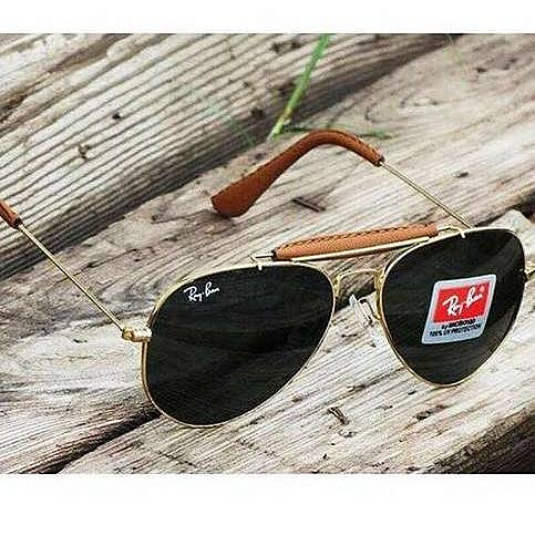 d907d54105 Stylish Ray Ban Aviator Black glass gold frame leather bridge fancy  sunglasses for man woman both