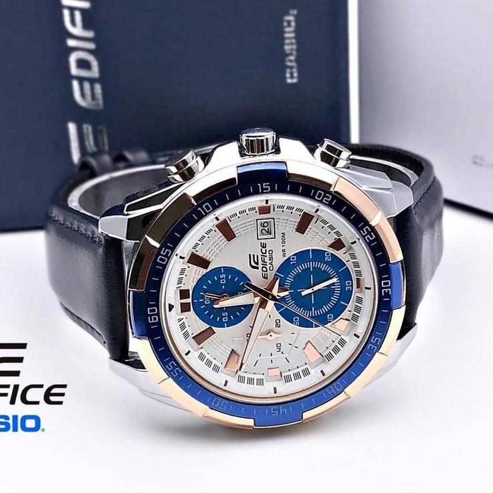 Casio Edifice Chronograph Ef539 0riginal Watch With Black Leather