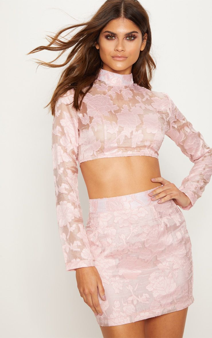 website for discount exclusive deals skate shoes Womens pink floral longsleeved crop top and skirt co ord set